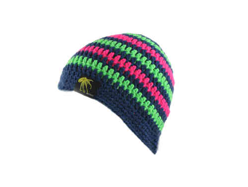 kallimari beanie in dark blue bright green and pink striped