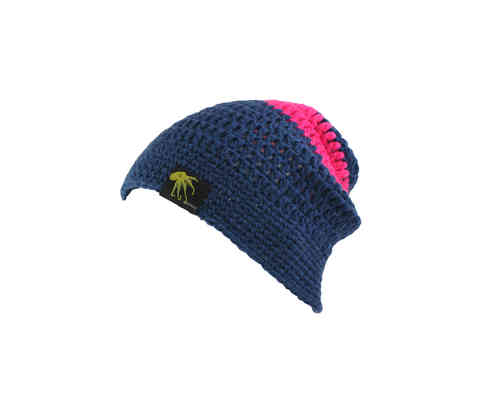 kallimari beanie in dark blue with a broard pink stripe