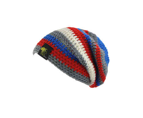 kallimari beanie grey red blue and white