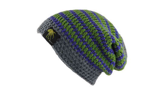 kallimari beanie  grey purple  green