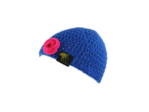 kallimari beanie romantic blue with a pink rose