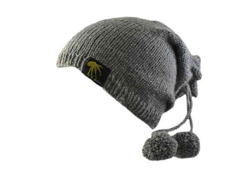 kallimari beanie grey with two sassy bobbles