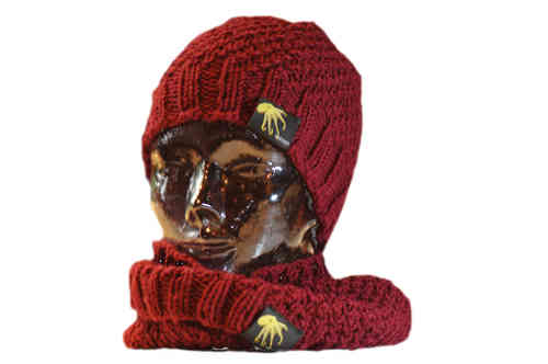 kallimari Set cool combination beanie and loop wine red